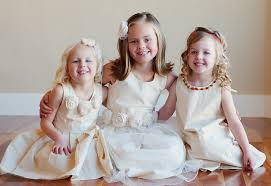 toddler and girls flower dress ivory in cotton silk satin