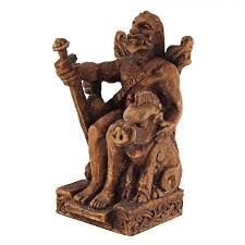 God Statue Seated Freyr Norse God Of Fertility Agriculture Statue Wood