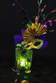 mylar shred mardi gras decor with puck lights create beyond the lines