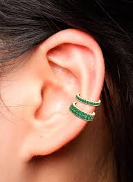 cuff piercing single row emerald ear cuff ko