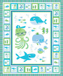whale of a time quilts for kids 36 inch panel ocean fish octopus