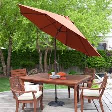Large Rectangular Patio Umbrellas by 9 Ft Tilt Patio Umbrella With Rust Red Orange Shade And Bronze