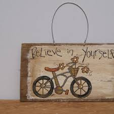 distressed wood sign hand painted bike from ramshackles