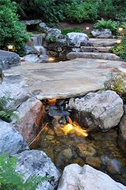Pictures Of Backyard Waterfalls by Pond Lighting Ideas Landscaping Network