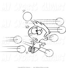 sports clip art of a black and white boy being hit with dodgeballs