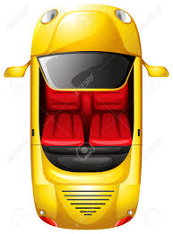 vehicle top view illustration of a topview of a yellow car on a white background