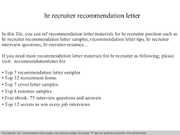 Recruiters Resume Sample by Hr Recruiter Recommendation Letter
