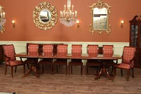 inlaid double pedestal mahogany dining table seats 14 people