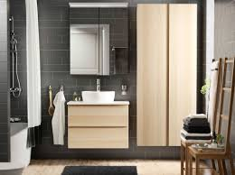 Ikea Bathroom Sinks by A Bathroom With Grey Brown Tiles And White Stained Oak Effect Wash