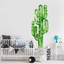 saguaro cactus watercolor wall decal tall cactus wall mural by zoom
