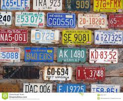 United States License Plate Map by Collection Of Old License Plates Royalty Free Stock Photography