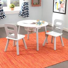 Kidkraft Outdoor Table And Chair Set Round Storage Table U0026 2 Chair Set Gray U0026 White
