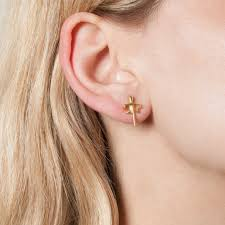 earrings studs dagger mini stud earrings gold leivankash jewellery