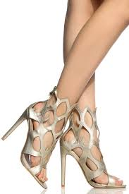 gold faux leather flame cut out open toe heels cicihot heel