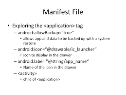 android label manifest file intents and activities manifest file