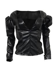 leather blouse faux leather puff sleeve s blouse tbdress com
