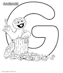 oscar the grouch and the letter g coloring page