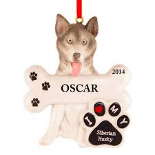 siberian husky personalized ornament and