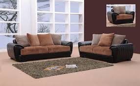 3pc Living Room Set Berlin Brown U0026 Black Microfiber U0026 Leather Living Room Set