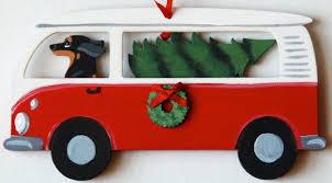 black dachshund retro bus dog christmas ornaments u2013 for the love