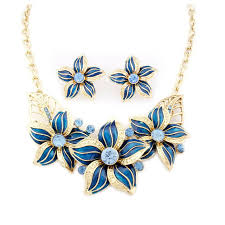 fashion necklace earring sets images High quality alloy flower choker necklaces earrings set enamel jpg