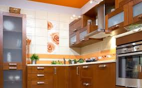kitchen fresh orange line floral corner kitchen wallpaper with
