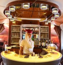emirates airbus a380 in flight cocktail bar and lounge u2013 stock