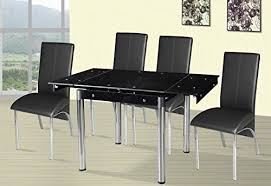 lucido extending central part white small extending dining table and 4 faux leather chairs sq https