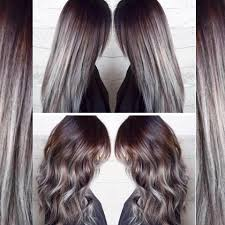 silver hair with low lights dark brown and blonde highlight and lowlights hair colors ideas