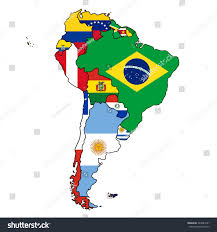 Latin America Map Countries by South America Flag Map All Countries Stock Vector 243823231
