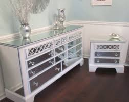 Nightstands With Mirrored Drawers Mirrored Dresser And 2 Matching Nightstands Pure White With
