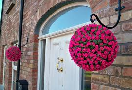 Topiary Balls With Flowers - pair of artificial 28cm pink rose topiary hanging flower balls