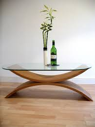 glass coffee table with wood base top furniture design reflections coffee table curved wooden base