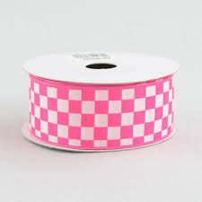 checkered ribbon 1 5 hot pink and white check ribbon 10 yards rg106741