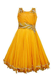 beautiful yellow golden floor length dress gown for girls of age