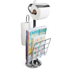spacious toilet paper caddy with magazine racks