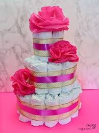 modern twist on the baby shower diaper cake