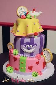 birthday cake baby shower 3 tier purple pink mad hatter boy