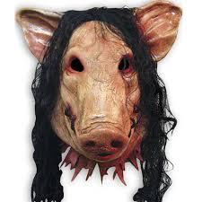 creepy pig head w full hair latex mask scary animal saw halloween