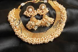 pearls necklace set jewellery images Buy beautiful designer pearl cluster necklace set dj04373 online JPG