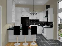 Stainless Steel Brick Backsplash by Black And White Kitchens With A Splash Of Colour Red Brown Rug