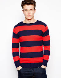 gant rugger crew neck striped sweater in red for men lyst