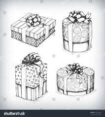 set gift boxes bows ribbons sketch stock vector 165595649