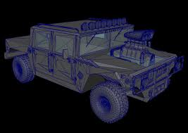 armored hummer army hummer 3d model