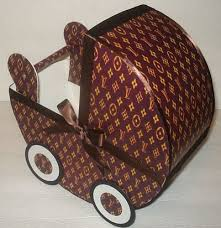 signature brown louis vuitton inspired baby carriage table c
