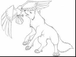 remarkable anime wolf with wings coloring pages with wolf coloring