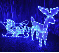 free standing illuminated reindeer and sleigh rope light 1500mm x