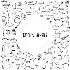 hand drawn doodle kitchen utensils set vector illustration sketchy