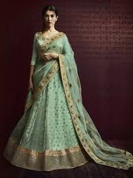 pista colour green color heavy embroidered wedding lehenga buy online by nakkashi