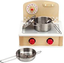 Kitchen Play Accessories - amazon com hape tabletop cook and grill kid u0027s wooden kitchen play